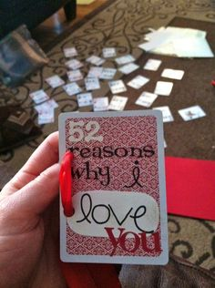 Looking for an easy, meaningful Christmas gift? Take deck of cards and on each write something that you love about your significant other. String them together into a book & voila!