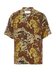 GUCCI Tiger Print Short-Sleeved Shirt. #gucci #cloth #shirt