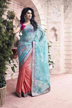 Peach And Sky Blue Color Half Tissue And Half Bhagalpuri Designer Sarees :