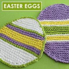 Easy Easter Egg Dishcloth Pattern by Studio Knit This pattern includes two different sizes created onstraight knitting needlesand I demonstrate all of thebasic knitting techniques! Knitted Washcloth Patterns, Knitted Washcloths, Dishcloth Knitting Patterns, Knit Dishcloth, Crochet Patterns, Weave In Ends Knitting, Easy Knitting, Knitting For Beginners, Knitting Yarn