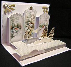 Vintage Snow Scene Panel Pop Up 3D Card Kit