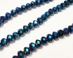 Check out 100 Metallic Blue 2x3mm faceted glass beads, Glass Crystal Beads, Spacer Bead, rondelle beads, R8 on vickysjewelrysupply