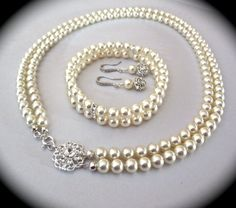Bridal jewelry set Pearl bracelet earrings by QueenMeJewelryLLC, $121.99