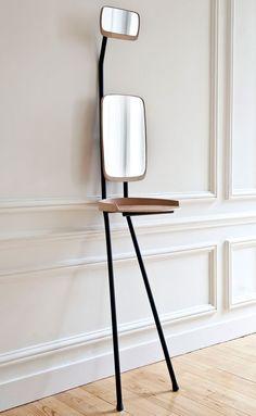 "Would like to attempt a simple, minimalist aesthetic. ""La coiffeuse Fanfan"" by Violaine d'Harcourt Design Furniture, Unique Furniture, Wood Furniture, Bedroom Furniture, Petite Console, Le Logis, Muebles Art Deco, Space Saving Furniture, Interior Decorating"