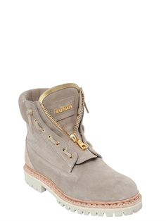 BALMAIN - 20MM TAIGA PERFORATED SUEDE BOOTS - BEIGE