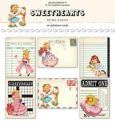Digital Retro Girl Ephemera Cards by KBandFriends.