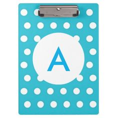 Monogrammed Turquoise Blue Polka Dots Clipboard