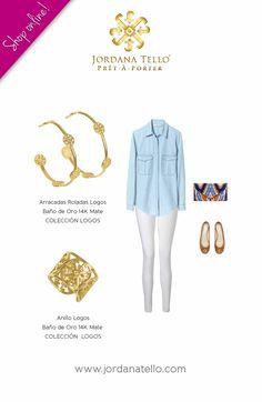 Arracadas roladas y anillo logos en baño de oro 14k de la Colección Logos by Jordana Tello