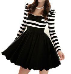 41f136c8b0c Long-Sleeve Striped Chiffon Bow Dress GH111801MH Cute Short Dresses