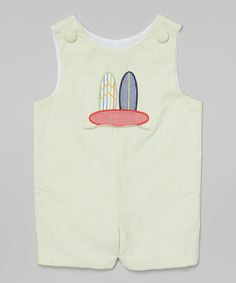 This Lime Surfboard Seersucker Shortalls - Infant & Toddler is perfect! #zulilyfinds