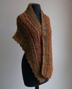 Hand Knit Shoulder Shawl Scarf Cowl Wrap, Stylish Comfort Prayer Meditation, Autumn Harvest Rust Multicolor