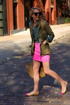 chambray, olive jacket, hot pink skirt and nude flats with hot pink caps