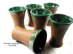 Handmade pottery cup tumbler green polka dot by Ningswonderworld, $22.00