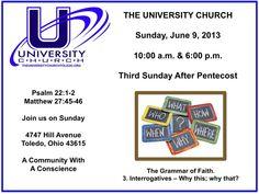 Sunday, June 9, 2013 at The University Church.