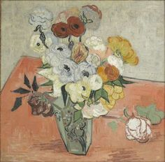 "Vincent van Gogh, ""Japanese Vase with Roses and Anemones"", oil on canvas, 51.7 x 52.0 cm,  June, 1890.  Musée d'Orsay, Paris, France."
