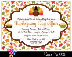 "Thanksgiving Invitation - Thanksgiving Birthday, Dinner or Party Invite - DIY Digital Printable File - 7"" x 5"" / No.8 by #JenoviaDesigns"