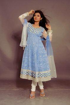 Order Chikankari Anarkali Designer dress online, Buy Chikankari Anarkali Designer dress online. Chikankari Anarkali Designer dress get work with Chikankari Anarkali with kutch embroidery. It is blue in color.
