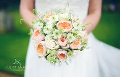One of my favourite bride's bouquet.  'Peaches and cream, peach roses, David Austin. Scabious. Apricot.