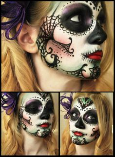 Sugar skull by M00N-flower.deviantart.com Love the web on the side of the face and chin | Can't wait for Dia De Los Muertos? Follow our board --> http://www.pinterest.com/thevioletvixen/sugar-skull-women/