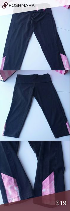 PINK Victoria's Secret yoga pants size small Victoria's Secret PINK, Yoga pants Capri style Great condition! Black with pink accents! Size small PINK Victoria's Secret Pants