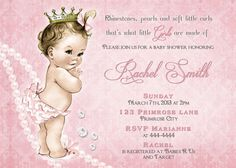 Vintage Pink Damask with Rhinestones and Pearls Little Princess Baby Shower Invitation by CuddleBugInvitations