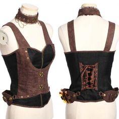 Women Black Chocolate Steam Punk Victorian Gothic Corset Vests SKU-11401189