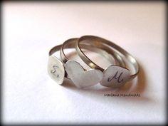 Personalized ringmonogram ring set of three by MarianaHandmade, $33.00