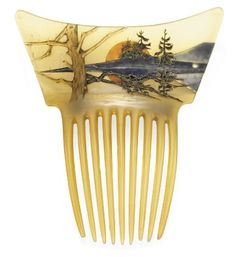 Hair Comb with enameled landscape by René Lalique (1860–1945), ca.turn of the century