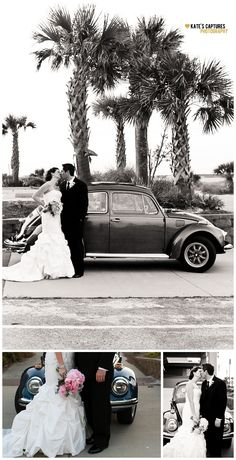 Bride & Groom with Antique 1970 VW Beetle // Pensacola Beach Wedding // Kate's Captures Photography