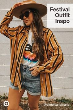 Get festival-ready with concert-inspired outfits like crop tops, kimonos, rompers & must-have accessories. Grunge Outfits, Retro Outfits, Trendy Outfits, Vintage Outfits, Fashion Outfits, Hippie Outfits, Fashion Ideas, Cute Summer Outfits, Spring Outfits