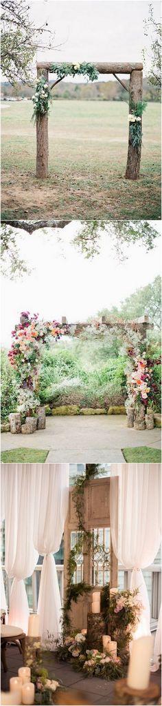 chic simple wedding arch ideas with tree stumps_1 #weddingideas #weddingdecor #rusticwedding #countrywedding #weddingarches
