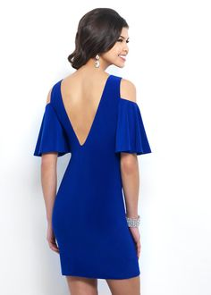Chic Draped Short Sleeves Fitted Cobalt Jersey V Back Homecoming Dress