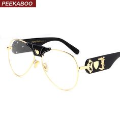 e7218610ab0 Aliexpress.com   Buy Peekaboo male spectacle frames for men gold oversized clear  lens glasses frame women brand designer cool metal 2017 from Reliable ...
