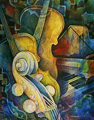 Classical Musical Instrument Paintings - Jazzy Cello by Susanne Clark