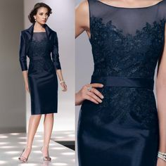 2015 Gorgeous With Jacket Scoop Neck 3/4 Sleeves Knee-Length Elastic Satin Applique Navy Blue Mother Of The Bride Dresses