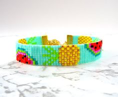 Pineapple peyote friendship bracelet watermelon beaded