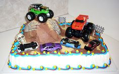 Image detail for -monster truck jam description 1 4 sheet decorated with buttercream and ...