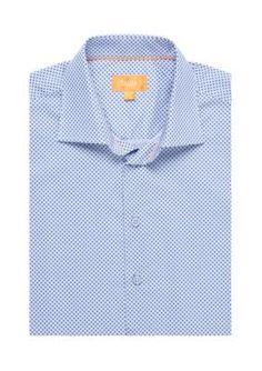 Tallia Orange Blue Slim-Fit Geo Print Long Shirt