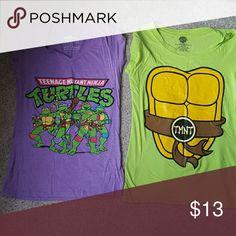 🔴Bundle🔴 Two ninja turtle t-shirt.. green tshirt collar streach out. ninja turtle  Tops Tees - Short Sleeve