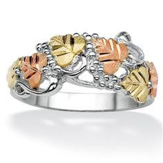 Sterling Silver and Black Hills Gold Leaf and Vine Ring