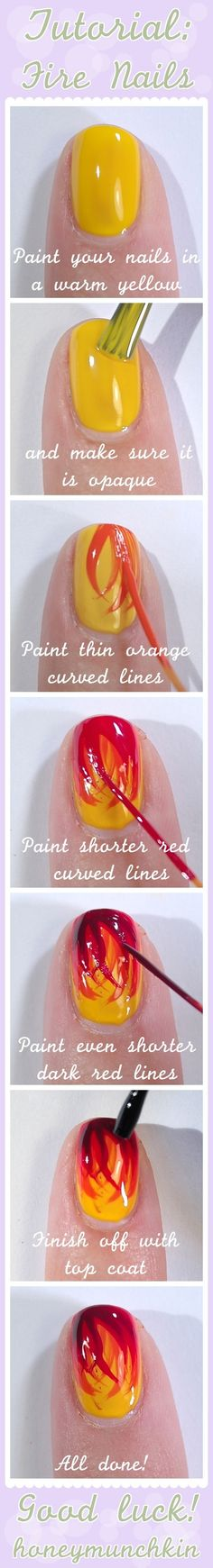 DIY Fire Nail Art  FIREPOWER!!!!!