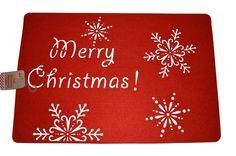 Set of 2 Christmas Place Mats Red Felt  Dinner Table Merry Christmas Placemat  #unbranded