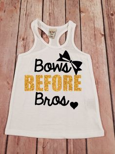 Bows Before Bros Gold Sparkle Racerback Shirt Racerback by SnowSew