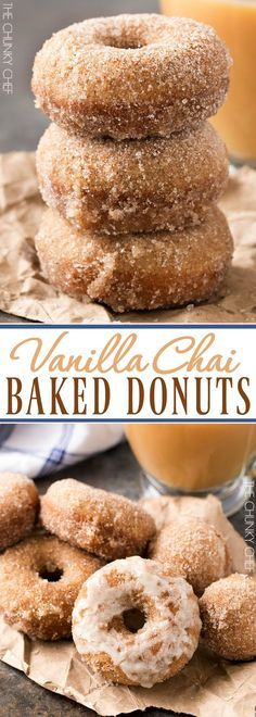 Baked Vanilla Chai Donuts   Delicious baked donuts filled with great vanilla chai flavors, rolled in cinnamon sugar, and served with an optional chai glaze!   http://thechunkychef.com
