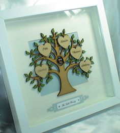 Handemade Personalised Family Tree Frame by LouisesCardsandGifts Scrabble Wall Art, Framed Letters, Scrabble Frame, Scrabble Tiles, Frame Crafts, Diy Frame, Fun Crafts, Diy And Crafts, Arts And Crafts