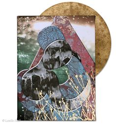 Spinning in the Hands of Fate, Embraces Collection, 12 x 16 (canvas) mixed media: archival inks, acrylic paint, gold leaf, vintage cymbal