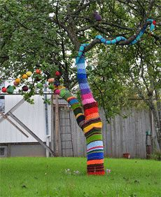 yarn bombing ♥♥ or paint the tree? this would be an awesome way to decorate for a party or backyard wedding, a lot of wow factor for not a lot of money :) so different!