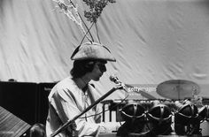 Keyboard player Rick Wright of British psychedelic rock group Pink Floyd in unusual headgear during rehearsals at the Queen Elizabeth Hall in London, 12th May 1967. The show featured an early experiment with quadrophonic sound.