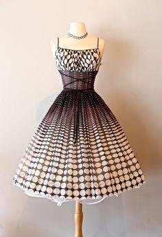 Vintage 1950s Polka Dot Sundress ~ 50s Op-Art Polka Dot Full Skirt Summer Dress by xtabayvintage on Etsy
