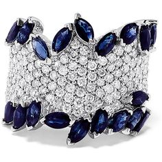 Effy Jewelry Effy 14K White Gold Natural Sapphire and Diamond Ring,... ($3,748) ❤ liked on Polyvore featuring jewelry, rings, white gold diamond rings, sapphire diamond ring, 14 karat gold diamond ring, diamond jewelry and white gold diamond jewelry